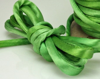 "1/4"" Silk Cord Silk Ribbon Hand Dyed Spring Green 3 yds Silk Necklace Cord FC"