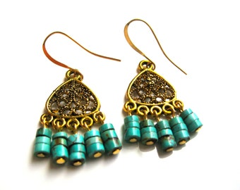 Gold Chandeliers with Chinese Turquoise Rondelle Beads