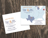 Map Save the Date - US Map with three states featured