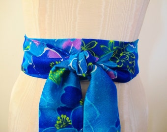 Obi Wrap Belt Blue Hawaiian Floral Print Fabric by ccdoodle - ready to ship