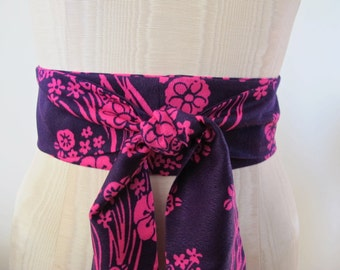 Obi Sash in Pink and Purple Floral Print Acrylic Vintage Fabric by ccdoodle on etsy - made to order