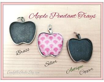 50pk...25mm Apple Pendant Trays...with glass inserts...MIX and MATCH..Bezel Trays, Pendant Settings...APT