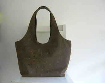 Punched Suede Fabric Large Tote