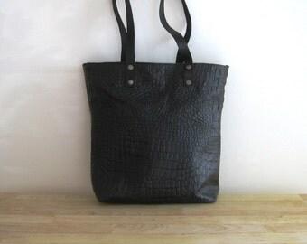 Dark Brown Embossed Leather Tote Shoulder Bag