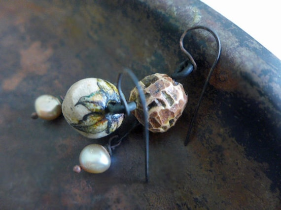 The Lost Self. Rustic assemblage asymmetrical earrings with polymer clay art beads and cultured pearls.