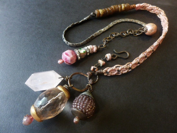 Soft and Slow. Grungy Pink Victorian Tribal Assemblage art statement necklace.