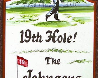 GOLFER Welcome Sign-Personalized Sign-GIFT-Hand Lettered-Hand Painted-Weatherproof