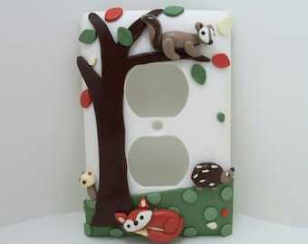 Forest Friends light switch or outlet cover -fox, squirrel, owl, hedgehog - children's, nursery