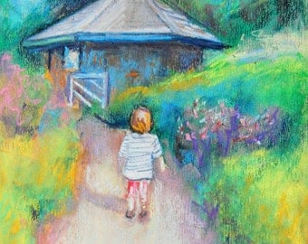 """Garden Girl, 8 x 10 Original Oil Pastel, Painting, """"Wandering in the Garden"""" by Bethany Bryant"""