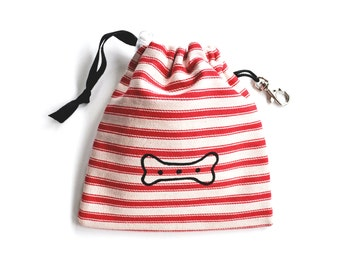 Bone Print Dog Tidy Pouch - Red Ticking