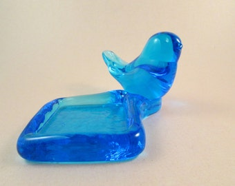 Vintage Blue Glass Bird Bluebird of Happiness with Votive Candle or Ring Holder
