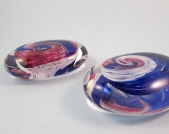 Vintage Swirled Glass Paperweight Flat Oval Shape Set of Two Blue White Rose Clear Glass