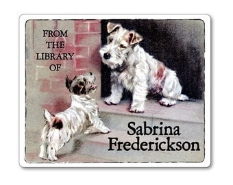 Personalized Vintage Bookplates - Wire Fox Terriers on Doorstep - Dog Lover Gift Childrens Books