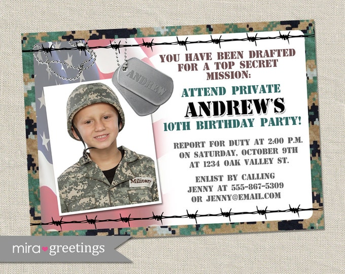 Military Birthday Party Invitation - Camo Invites - Army Party - Soldier Camouflage Invitations (Printable Digital File)
