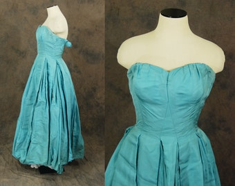 CLEARANCE Sale vintage 50s Party Dress - Ice Blue Satin Ball Gown - 1950s Strapless Formal Dress Sz XXS