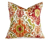 Colorful Ikat Pillow in Orange Red Green Ethnic Design, Modern Ikat Pillow Covers, Lumbar 12x18, 18x18,  20x20