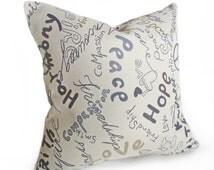 Love Pillow, Teens Inspirational Pillow Cover, Friendship, Peace, Love, Faith Hope, Taupe Blue Cushions, Girls Dorm Decor, 18x18, SALE