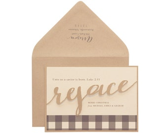 Christmas Cards - kraft, paper bag, gingham, rejoice, religious, black and white, neutral, script, biblical, modern, urban, country, holiday