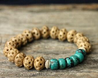 Carved Bone Turquoise Sterling Bangle Bracelet / Natural Sonora Turquoise Bohemian Tribal Bracelet, Bright Blue Tan Dark Brown Black Lines