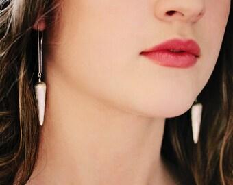 Sterling Spike Drop Earrings / Hill Tribe Silver Statement Earrings / Dangle Brushed Silver Chain Valentine Earrings / Modern Bold Geometric