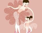"8X10"" ballerina mother and daughter giclee print on fine art paper. mauve/dusty pink, ballet slipper pink, magenta, brunette, caucasian."