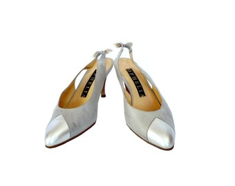 OPHELIA French Vintage Silver Grey Leather Slingback Shoes