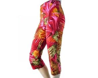 FRIPONNE French Vintage 80s Jungle Print Cotton Pants