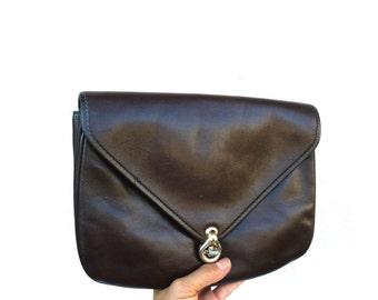 French Vintage Dark Brown Leather Clutch / Shoulder Bag