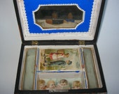 Antique Decoupage Treasure Box Hand Decorated With Antique Advertisements 1890 Keepsake Box
