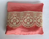 Lavender Sachet, Pink Silk Pillow, Antique Lace, 6 X 7,  Boudoir Pillow, Handmade Pillow, Accent Pillow, OOAK