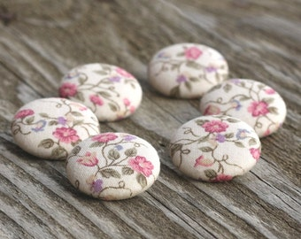 Fabric Buttons - Natural Flowers - 6 Medium Pink, Green Brown and Beige Flowers and Leaves Fabric Covered Buttons