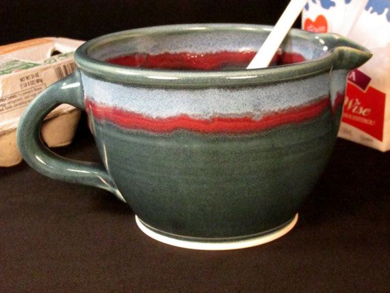 Pottery Batter Bowl - Ceramic Gravy Boat - Blue and Red - In Stock and READY TO SHIP