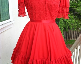 Vintage Red full circle with Lace and Ruffles Dress by Malco Modes