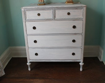 Dresser Shabby ChicCUSTOM ORDER French Swedish Blue White Distressed Antique Vintage Cottage Prairie