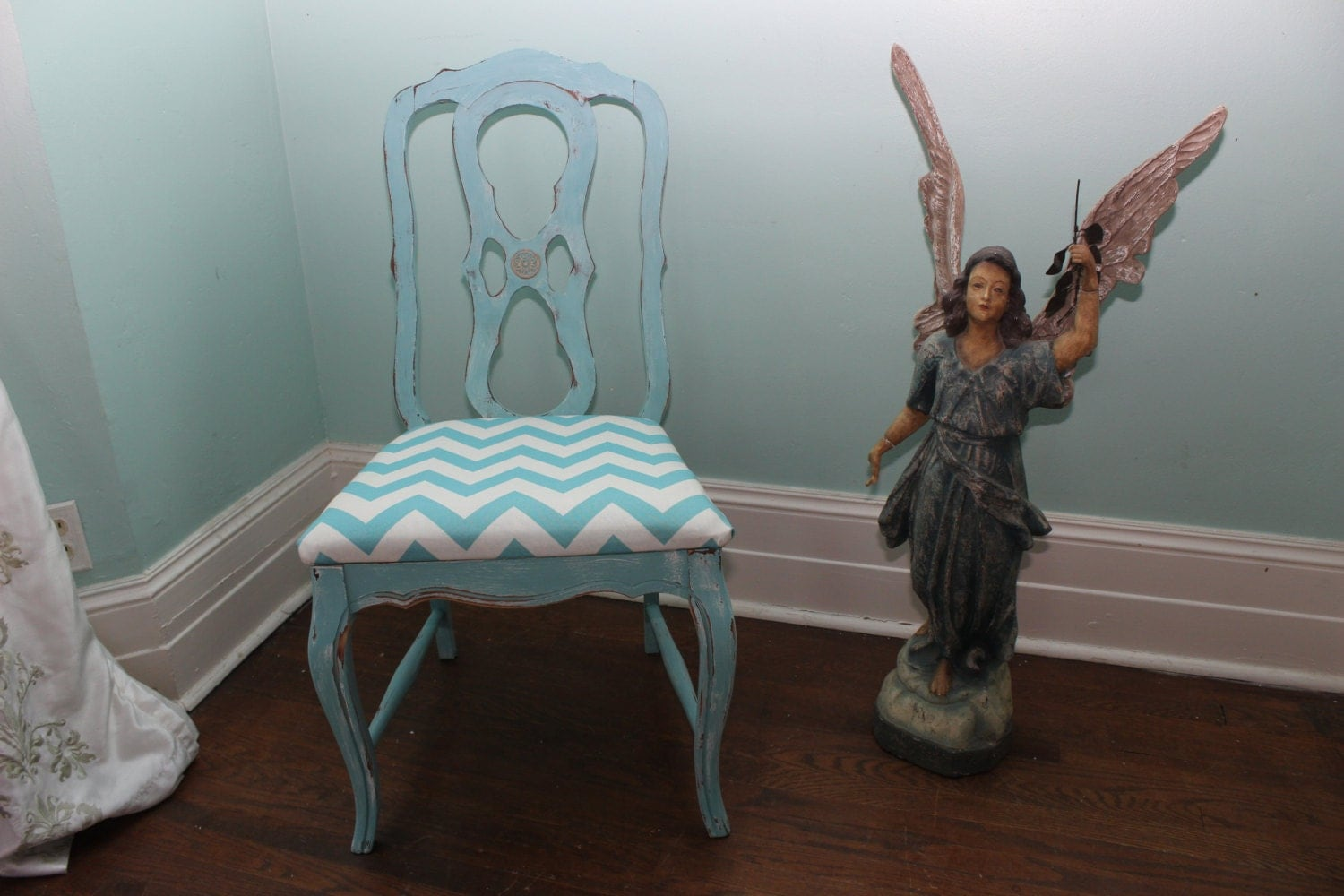 accent chair shabby chic aqua turquoise by