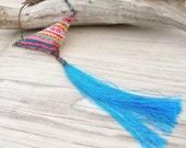Eclectic Bohemian Tassel Necklace - Large Pendant with Blue Silk Tassel and Vintage Hill Tribe Embroidery