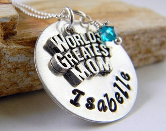 Personalized Worlds Greatest Mom Necklace, Mothers Necklace, Handstamped Mom Necklace, by RosesDesigns
