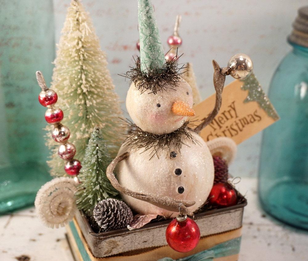 Christmas Decoration // Snowman // Folk Art By