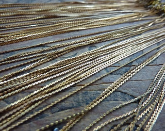 Vintage Brass Serpentine Chain 15 inch Necklace 1mm F103