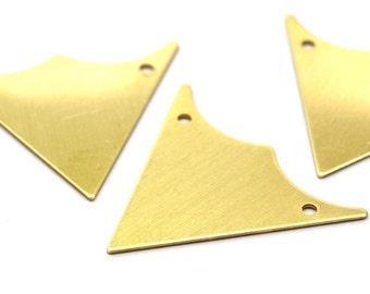 Raw Brass Triangle, 10 Raw Brass Triangle Pendants with 2 Holes (33x33x33mm) Brass 048 ( A0113 )