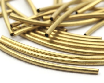 Brass Curved Tube Beads, 50 Raw Brass Curved Tube Findings (34x1.5mm) (b0125)