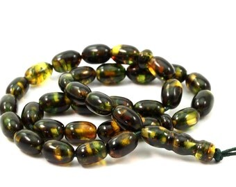 Green Amber Beads 8x5.4 mm