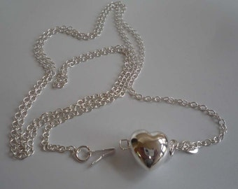 """Sterling silver long chain necklace 39"""" with big puff heart clasp"""