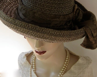 Olive and Sage Green Straw Summer Hat