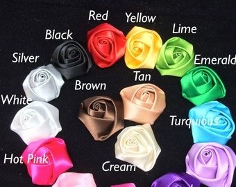 6pc OR rainbow pack Satin rolled roses with felt size 1 1/2 inch OR 7/8 inch Lots of colors
