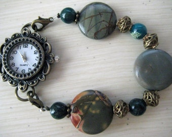 Interchangeable Jasper and Green Turquoise Stones Watch Band Bracelet w/Brass Watch Face