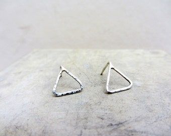 Minimalist triangle post earrings, Geometric triangular sterling silver earrings