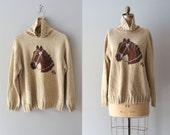vintage horse sweater / slouchy cotton sweater / Equine sweater