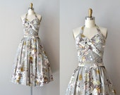 Anthemion halter dress | 1950s floral cotton sundress • vintage floral 50s dress