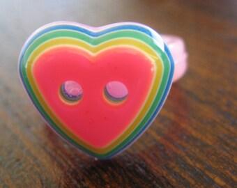 Little girl child rainbow heart ring